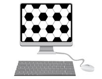 Monitor with a football pattern, keyboard and mo Stock Photography