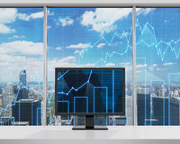 Monitor with forex chart. Standing in office Royalty Free Stock Photo