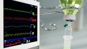 Monitor giratorio con el goteo y los cirujanos en fondo almacen de metraje de vídeo