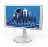 Monitor with graph Royalty Free Stock Photo