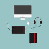 Monitor. Graphics tablet. mouse, headphones. daily flat design Royalty Free Stock Images