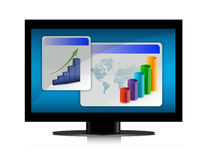 Monitor with graphs on the screen. On white background stock illustration