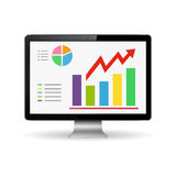 Monitor with graphs on the screen Stock Photo
