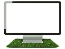Monitor on grass front view Royalty Free Stock Images