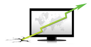 Monitor with a green graph. Monitor with a green graph illustration Stock Photos