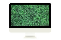 Monitor with green grass Stock Photos
