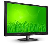 Monitor with green grass Stock Photo