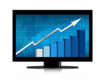 Monitor growth graph. Business growth graph in monitor. Vector available Royalty Free Stock Photography