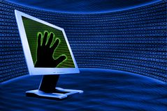 Monitor with hand. Binary background and monitor with hand Royalty Free Stock Photo