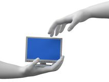 Monitor in the hands. Image of 3d monitor in hands. White background Stock Photography