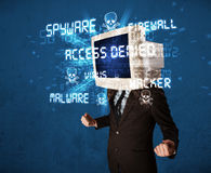 Monitor head person with hacker Royalty Free Stock Image