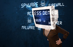 Monitor head person with hacker type of signs on the screen Stock Image