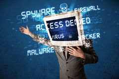 Monitor head person with hacker type of signs on the screen Royalty Free Stock Photography