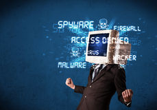 Monitor head person with hacker type of signs on the screen Stock Photos