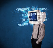 Monitor head person with hacker type of signs on the screen Royalty Free Stock Image