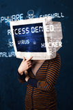 Monitor head person with hacker type of signs on the screen Stock Images