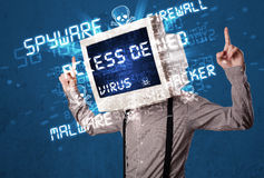 Monitor head person with hacker type of signs on the screen Royalty Free Stock Photo