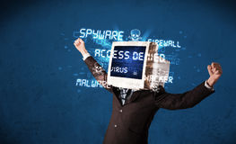 Monitor head person with hacker type of signs on the screen Royalty Free Stock Images