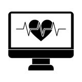 Monitor heartbeat cardiology rhythm pictogram Royalty Free Stock Image