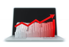 Monitor with histogram. Monitor which shows a graph of the keyboard. Graph with a red arrow white background Royalty Free Stock Photos
