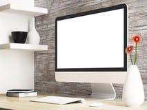 Monitor i akcesorium na drewnianym stole ilustracja wektor