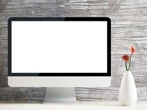 Monitor i waza na drewnianym stole royalty ilustracja