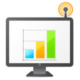 Monitor icon. Monitor Live data icon. illustration of a monitor with data displayed on screen. Antenna with signal Stock Photo