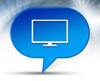 Monitor icon blue bubble background royalty free illustration
