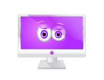 Monitor icon with eyes Royalty Free Stock Image