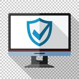 Monitor icon in flat style with security shield on the screen on transparent background. Monitor icon in flat style with security shield on the screen and long vector illustration