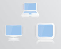 Monitor icon and glossy. blue screen. Design illustration Royalty Free Stock Photo