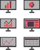 Monitor icon. Set of flat business icon with monitor Stock Images