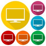 Monitor icon, Vector Eps 10 icons set with long shadow Stock Photography