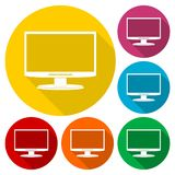 Monitor icon, Vector Eps 10 icons set with long shadow Royalty Free Stock Photos