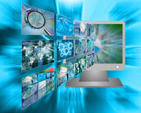Monitor and images Royalty Free Stock Image
