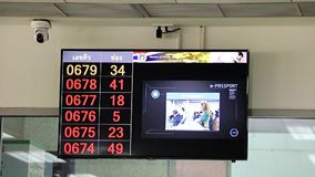 Monitor with instructions and numbers of a queue,. Bangkok, Thailand stock footage