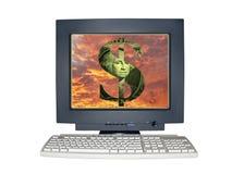 Monitor isolado do computador com conceito da cena do dinheiro Imagem de Stock Royalty Free