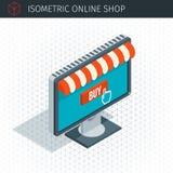 Monitor isométrico com toldo ilustração stock