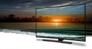 monitor 4k isolado no branco Foto de Stock Royalty Free