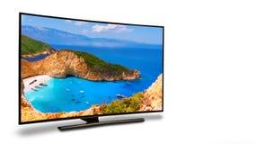 monitor 4k isolato su bianco Fotografia Stock Libera da Diritti