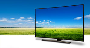 Monitor 4k lokalisiert auf Weiß Stockbilder