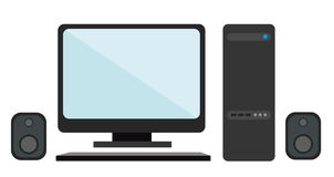 Monitor, keyboard, CPU, speakers on a white background. Stock Photography