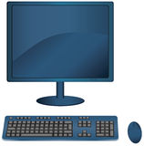 Monitor keyboard and mouse. Vector illustration of a blue monitor with matching keyboard and cordless mouse Stock Photography