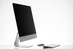 Monitor, keyboard and mouse!. Monitor, keyboard and mouse on white background Stock Photo