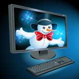 Monitor and keyboard with Snowman Stock Images