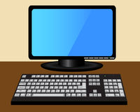 Monitor and keyboard on the table Stock Photography