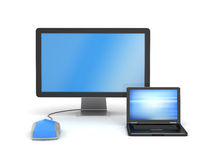 Monitor, laptop and computer mouse. On white background royalty free illustration