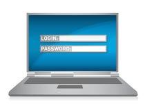 Monitor. laptop de illustratie van de computerveiligheid Royalty-vrije Stock Afbeeldingen