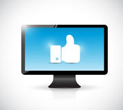 Monitor and like hand illustration Royalty Free Stock Photography