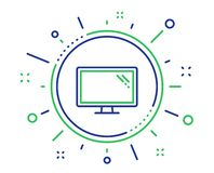 Monitor line icon. Computer component device sign. Vector stock illustration